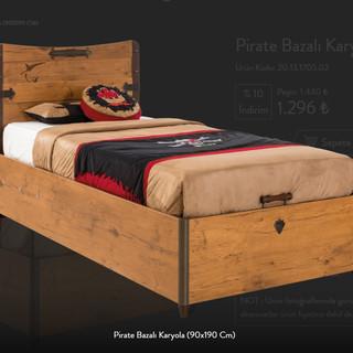 Pirate Bazalı Karyola (90x190 Cm)