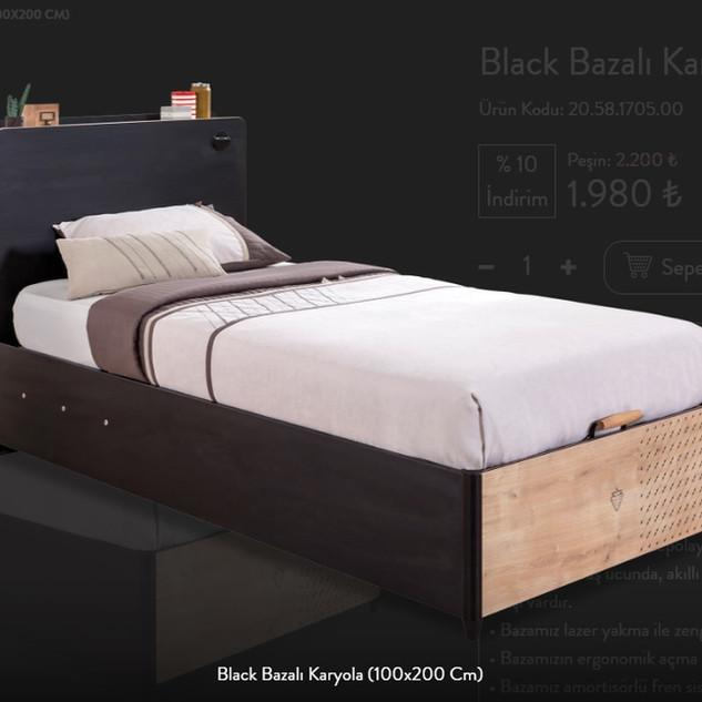 Black Bazalı Karyola (100x200 Cm)