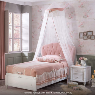 Romantic Kumaş Başlıklı Bazalı Karyola (100x200 Cm)