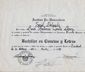 Diploma de Bachillerato de Luis Costa
