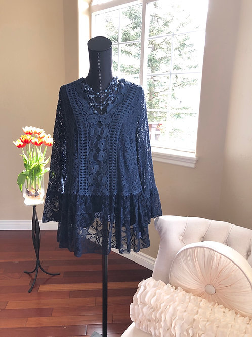 NAVY LONG SLEEVE TUNIC WITH FLORAL DESIGN