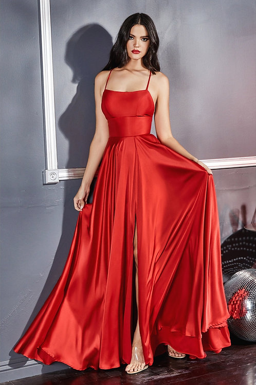 Satin A-line Gown W/ Leg Slit and Criss Cross Back