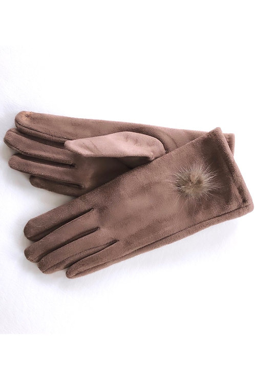 FAUX SUEDE CAPPUCCINO GLOVES