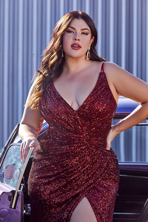 Sexy Fitted Sequins Gown Up to Size 26
