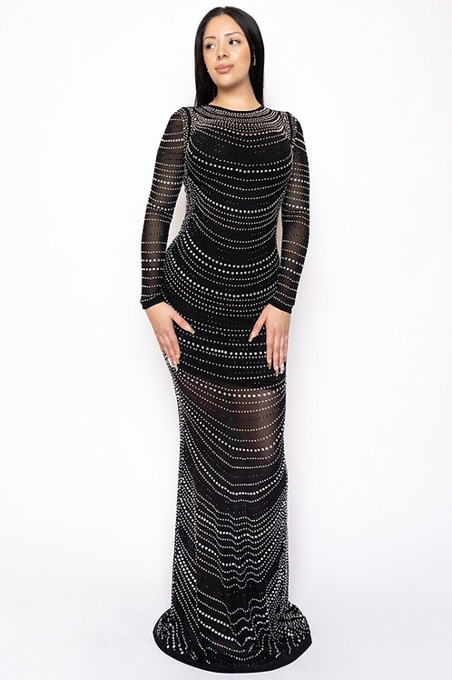 BJL20 12411 BLACK LONG SLEEVE MAXI DRESS