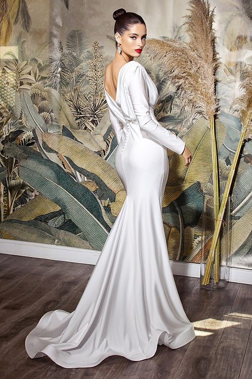 Off-white Stretch Fitted Gown Up to Size 5XL