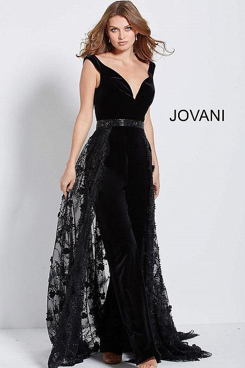 JOVANI 58964 BLACK VELVET JUMPSUIT WITH OVERSKIRT
