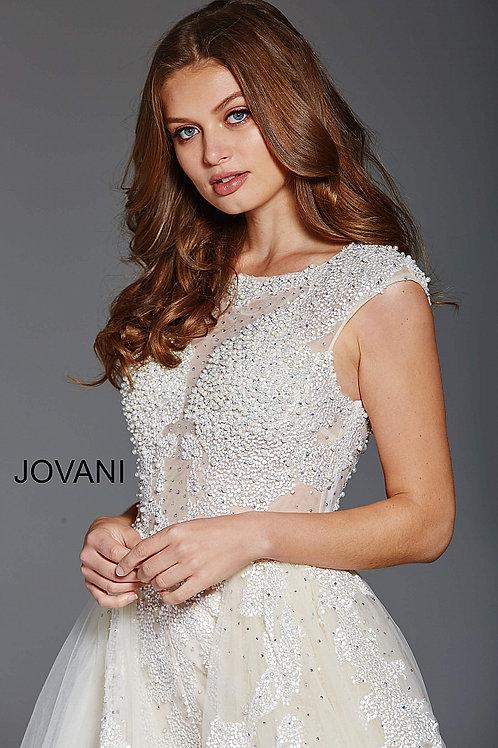 JOVANI 56008 IVORY JUMPSUIT WITH OVERSKIRT