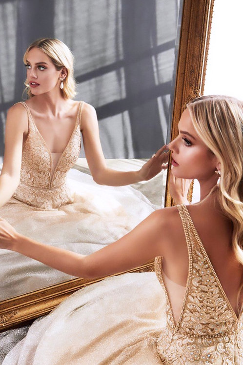 Sparkle Gold Silver Ball Gown