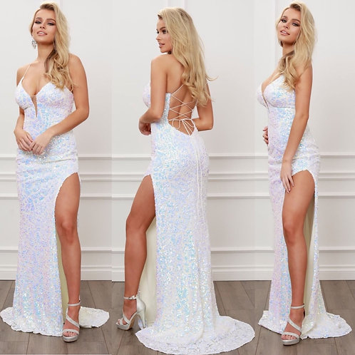 Iridescent laced back high slit gown
