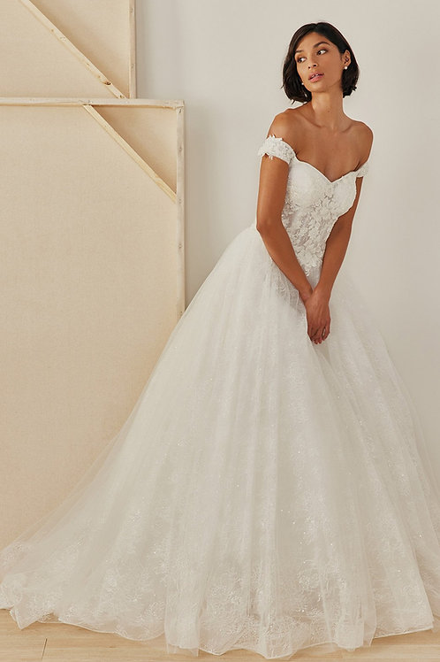 Off the Shoulder Sweetheart Lace up Ballgown