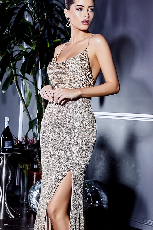 Champagne Fitted Sequin Gown with Cowl Neckline and Leg Slit