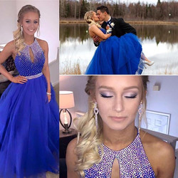 So in 💙 with this #Prom look! _#proud #fourthavenueboutique #royal #iridescent #ballgown #JovaniFas