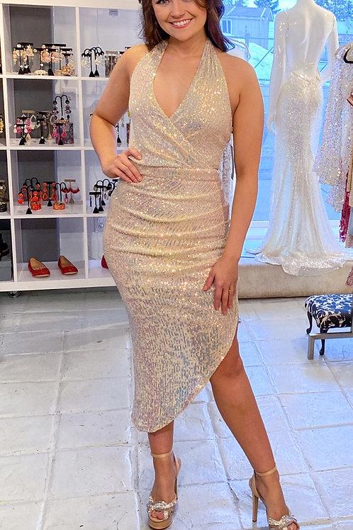 Champagne Asymmetrical Dress