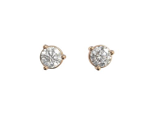 Puces d'oreille en or rose 18 carats, Chic et intemporelles