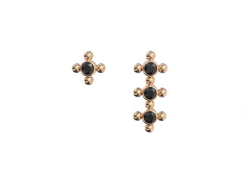 Boucles d'oreille en or 18 carats, assortiment Galaxie diamants noirs