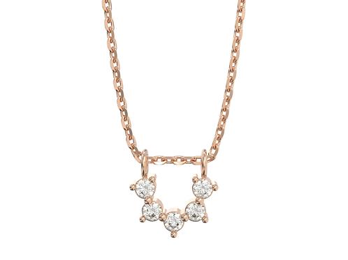 Collier intemporel en or rose 18 carats - Ligne de diamants