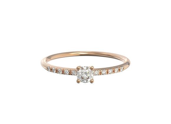 Bague intemporelle en or 18 carats - petit solitaire et anneau serti