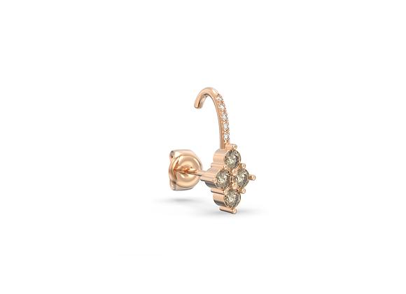 Boucle d'oreille en or 18 carats - petite grappe et demi anneau sertiti