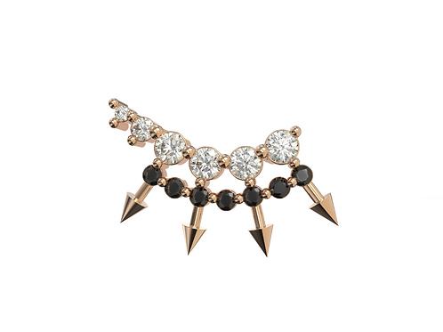 Boucle d'oreille en or rose 18 carats, Chic and choc black et grimpante