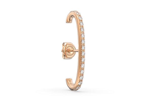 Boucle d'oreille en or 18 carats - dessus/dessous sertie de diamants