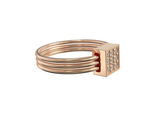 Bague en or rose 18 carats - 3 anneaux & lien serti
