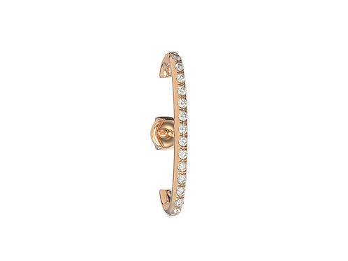 Boucle d'oreille en or 18 carats, dessus/dessous sertie de diamantss