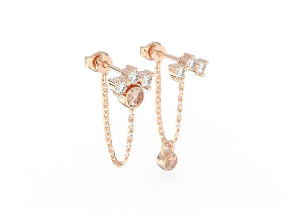 Boucles d'oreille intemporelles & Assortiment corail en or rose 18 carats