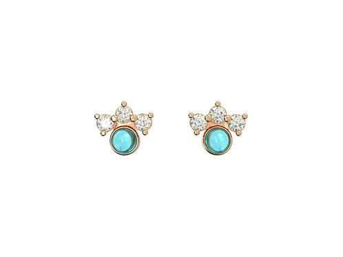 Boucles d'oreille intemporelles en or 18 carats, Assortiment Bleu azur