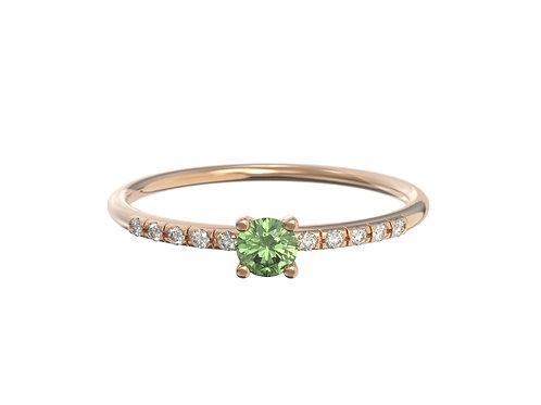 Bague en or 18 carats - petit solitaire de saphir vert et anneau serti