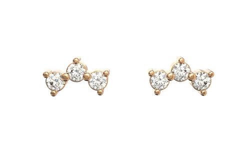 Boucles d'oreille intemporelles en or 18 carats, 3 petits diamant