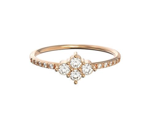Bague intemporelle en or 18 carats - petite grappe de diamants et anneau serti