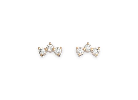 Boucles d'oreille intemporelles - 3 petits diamants et or 18 carats