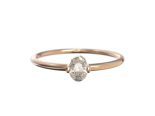 Bague en or rose 18 carats, diamant ovale