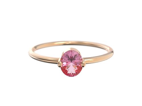 Bague en or rose 18 carats, Saphir rose ovale