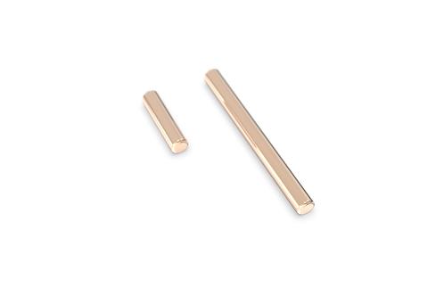 Boucles d'oreille - Baguettes asymétriques non serties et chainettes