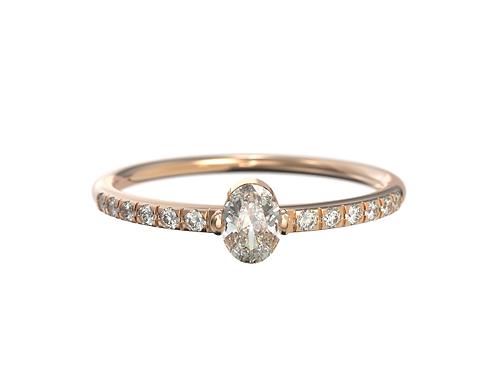 Bague en or rose 18 carats, diamant ovale et sertis
