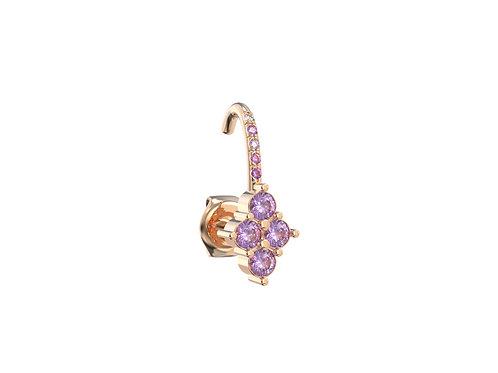 Boucle d'oreille en or 18 carats, petite grappe et demi anneau sertiti
