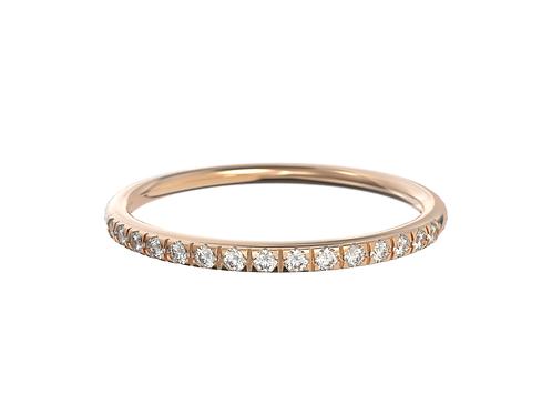 Bague en or rose 18 carats, anneau fin serti