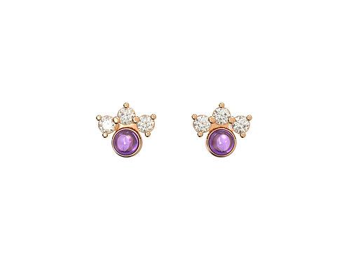 Boucles d'oreille intemporelles en or 18 carats, Assortiment violet