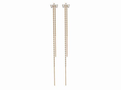 Boucles d'oreille intemporelles en or 18 carats et chaînettes