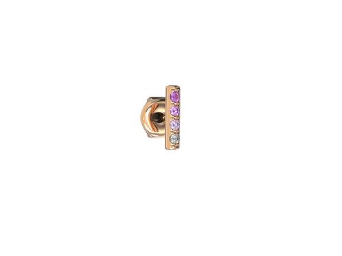 Boucle d'oreille - baguette courte sertie de saphirs dans des nuances violettes