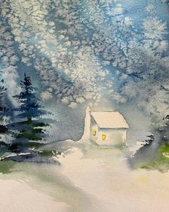 Snowfall cabin