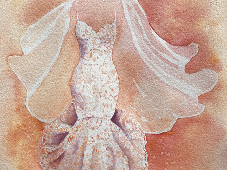 A new wedding dress - in peaches and cream