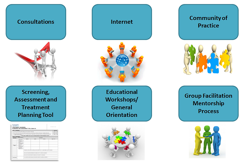 Visual of what the CD Capacity Building Team does: consultaions, website, community of practice, screening and assessment, treatment planning, educational workshops, general orientation, group facilitation mentorship
