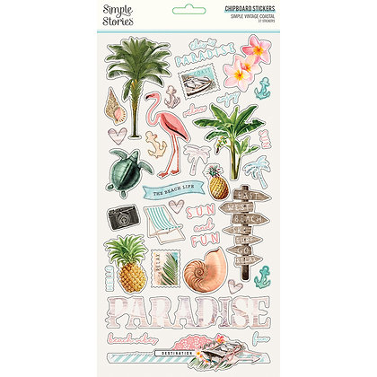 Coastal Chipboard Stickers