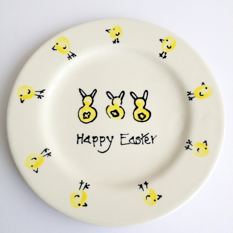 Easter Plate with fingerprints