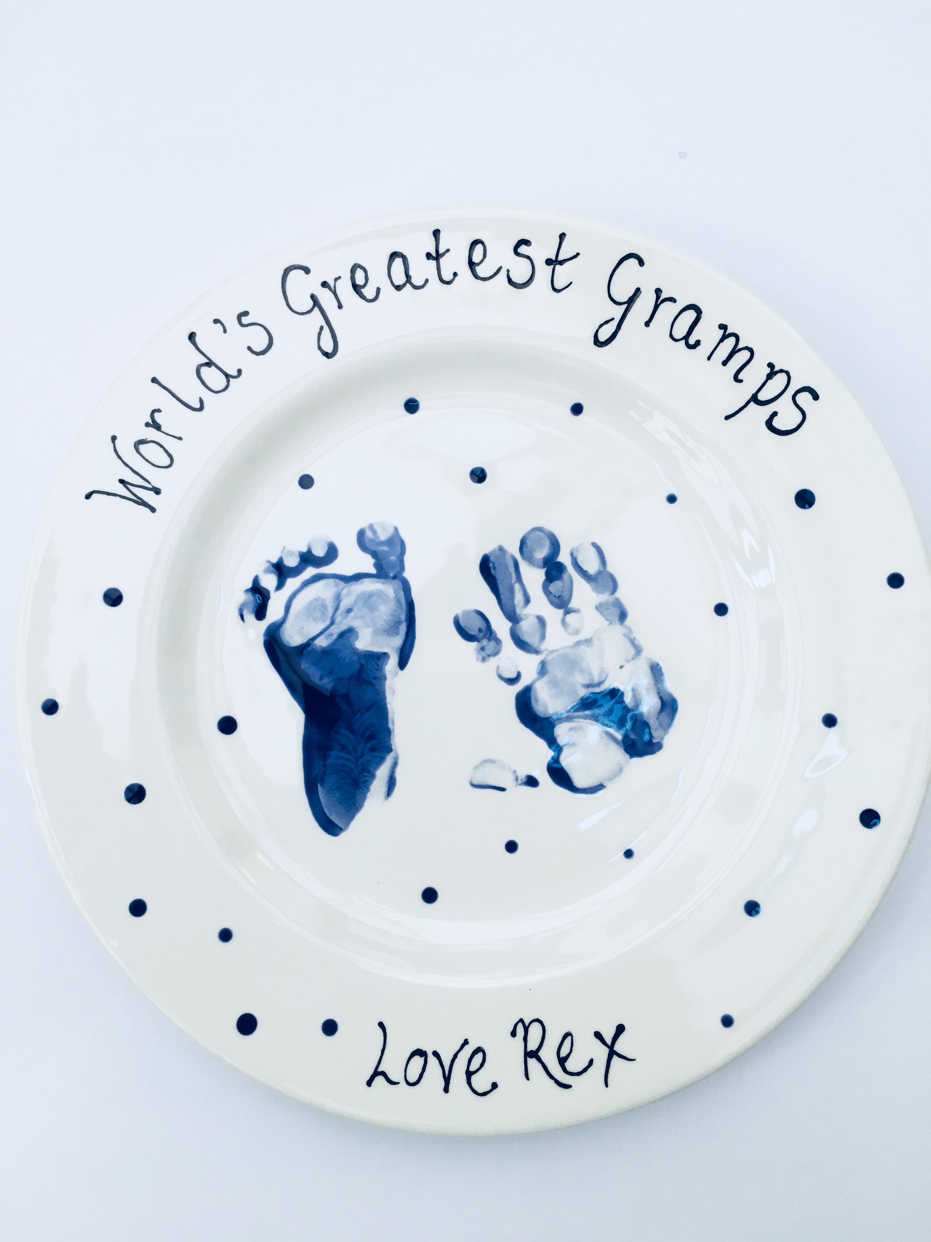 Baby hand print plate