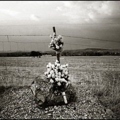 Flowers marking the memory of a deadly accident. Monsaraz, Portugal 2009