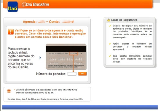 Tela fraudulenta do Bankline - Banco Itaú